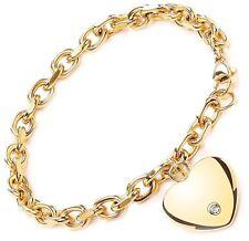 Stainless Steel Yellow Gold heart CZ Charm 22cm Bracelet