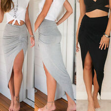 Women High Waisted Asymmetric Stretch Ruched Skirt Party Mini Bodycon Ultra Sexy