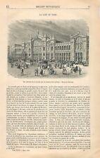 Façade de la Gare du Nord Paris Chemin de Fer Dessin du Thérond GRAVURE 1866