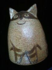 Signed Studio Pottery Cat Piggy Bank Mid Century Modern