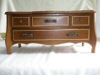 Vintage LONDON LEATHER Jewelry Box/Music Box Wooden Mirror Legs Japan