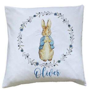 """Personalised Peter Rabbit ~ 16"""" white cushion/pillow cover nursery boy gift"""
