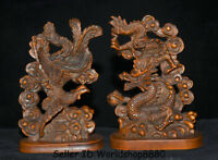 """4.2"""" Antique Old China Boxwood Wood Hand Carved Dragon Phoenix Lucky Statue Pair"""