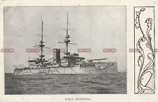 "Royal Navy Postcard. HMS ""Hannibal"" Battleship. Troopship Dardanelles. 1904"
