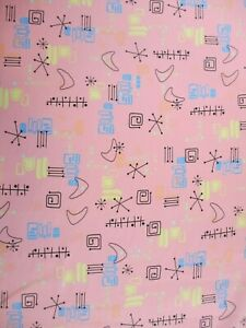 Retro Atomic Mid Century Boomerang Starburst Pink Blue Yellow Fabric by the Yard