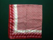 """Vintage 26"""" Square Red / White / Pink / Beige sharp geometricdesign scarf"""