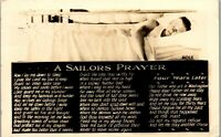 WW2 Great Lakes Training Base A Sailor's Prayer 1942 RPPC Vintage Postcard BB2