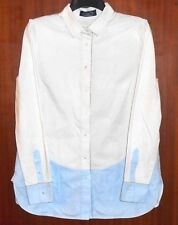 Magaschoni Shirt Sz Large White & Blue  Button Up Silver Trim Long Sleeve