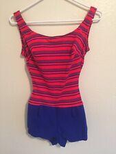 Vintage JCPenney Swimsuit Bathing Suit Romper Swimwear Womens 9 Blue Red Stripes