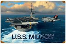 Stan Stokes Vintage Uss Midway Navy Metal Sign Man Cave Garage Shop Stk030