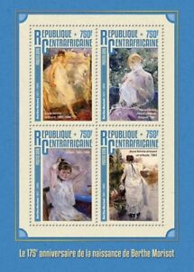 Central African Republic 2016 MNH Berthe Morisot 175th Birth 4v M/S Art Stamps