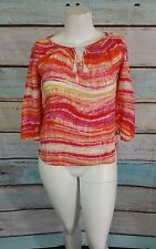 Jones New York Sport Orange Pink White Linen Boho Peasant Top Blouse Shirt Sz S