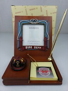 """A Hero's Hat 4""""x4"""" Photo Frame Firefighter Vanmark Red Hats of Courage FM88331"""