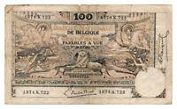 BELGIUM banknote 100 Francs 1920 VF Very Fine grade