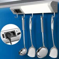 Lampada Luce Sottopensile Cucina Con 5 Ganci Portastoviglie 2 Prese Shucko + USB
