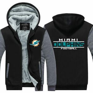 Miami Dolphins Thicken Hoodie Men's Fleece Hooded Winter Warm Sweatshirts Jacket