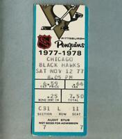 1977-78 Pittsburgh PENGUINS Chicago Black Hawks NHL Vintage Hockey Ticket Stub 1