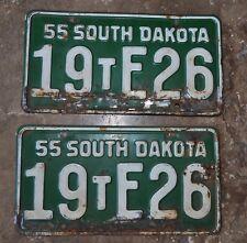 1955 SD MATCHING PAIR License Plates Antique Auto Street Rod SOUTH DAKOTA Plate