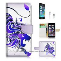 ( For iPhone 7 ) Wallet Case Cover P0391 Lion Abstract