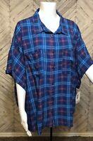 NWT LulaRoe Blue Pink Short Sleeve Button Up Collar Plaid Shirt Blouse Womens 2X