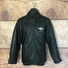 Hard Rock Mens Jacket Coat Black Textured Leather New York Lined Collared XS