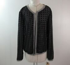 Democracy Open Front Sweater Size L Geometric Cutout Overlay Gray Black