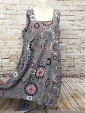 Sommer Leinen Kleid Lagenlook Übergröße Tunika Gr. 46 48 50 Neu braun Damenmode