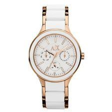 ARMANI EXCHANGE ROSE GOLD TONE,WHITE SILICONE WRAPPED BRACELET BAND WATCH AX5126
