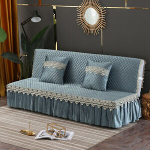 Velvet Armless Sofa Bed Cover Quilted Lace Soft Folding Couch Slipcover Europe