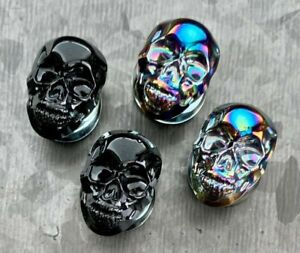 PAIR of Skull Front Pyrex Glass Plugs Gauges Tunnels Body Jewelry