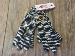 NWT Womens Los Angeles Rams Touch by Alyssa Milano Embroidered Knit Logo Gloves