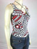 New womens size small TRUE LIGHT Black Polka Dot Sleeveless shirt blouse tank S