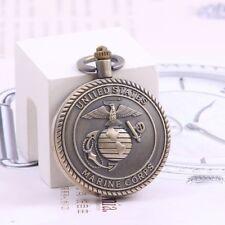 Retro Military Pocket Watch Marines Team Pocket Watch Brown