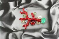 Broche Pin Art Nouveau Branche Corail Email Rouge Perle Vert Blanc Bleu XZ2