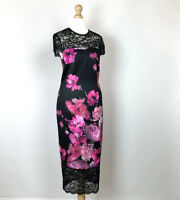 West 9 London Pencil Dress UK Size 12 Black Pink Floral Womens Lace RRP £139.00