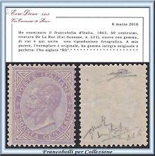 1863 Italia Regno DLR cent. 60 lilla Londra n. L21 Cert. Diena Nuovo Integro **