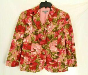 Ann Taylor Womens Blazer Red Floral 100% Silk Jacket Size 8P
