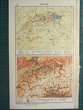 1921 MAP ~ SWITZERLAND ~ MINES AND INDUSTRIES & DENSITY OF POPULATION