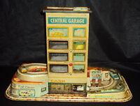 Technofix Central Garage Set Western Germany C1960 Vintage Tinplate And Plastic