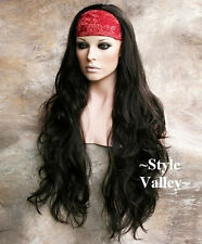 XXXL Dark Brown 3/4 Fall Hair Piece Wavy Extra Extra LONG Half Wig GORGEOUS!