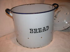 "Extra Large Vented White/Navy Bread Bin Excellent Kitchenalia 11"" x15"""