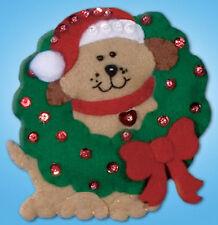 Felt Embroidery Kit ~ Design Works Dog & Wreath Christmas Ornament #DW584
