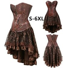 Women Faux Leather Corset Dress Gothic Steampunk Corsets Bustiers Costumes 6XL