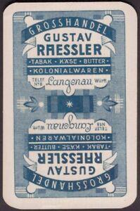 Playing Cards Single Card Old Vintage RAESSLER German LANGENAU Shop Advertising