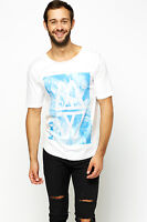 NEW Men's White With Blue Print Mossimo Summer T Shirt XS TO XXL