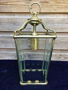 Vintage Antique Style Brass Bevel Cut Glass Ceiling Pendant Lantern Light Lamp