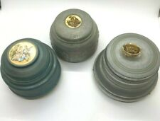3 Vintage Powder Trinket Music Boxes Aluminum Victorian Scene All Play Music