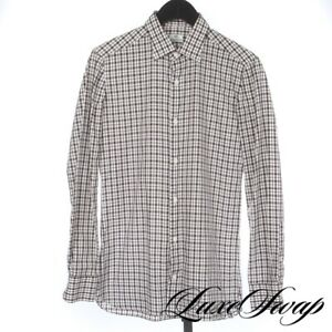 Borrelli Napoli Made in Italy White Raisin Black Checked Plaid Oxford Shirt 15