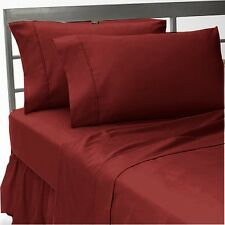 1200 Thread Count Egyptian Cotton Bed Sheet Set 1200 TC CAL KING Burgundy Solid