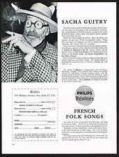 1960 Vintage Philips French Folk Song & Sacha Guitry Record Photo Print Ad